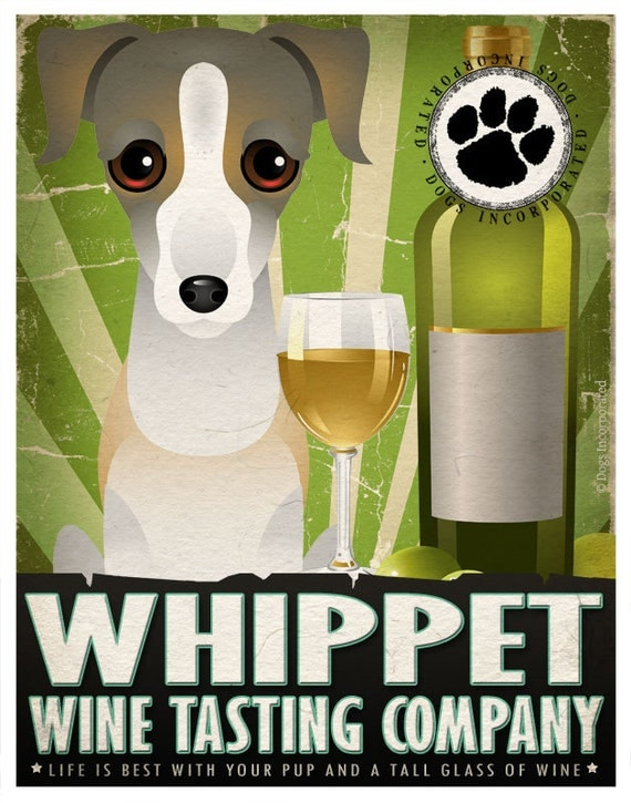 Whippet Drinking Dogs Original Art Poster Print - Personalized Dog Wall Art -11x14- Customize with Your Dog's Name - Dogs Incorporated
