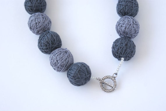 Set grey balls handmade beaded - necklace and ring thread cotton for women fiber natural