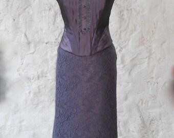 Deep purple / plum - boned - silk corset top - high fashion - steampunk - goth