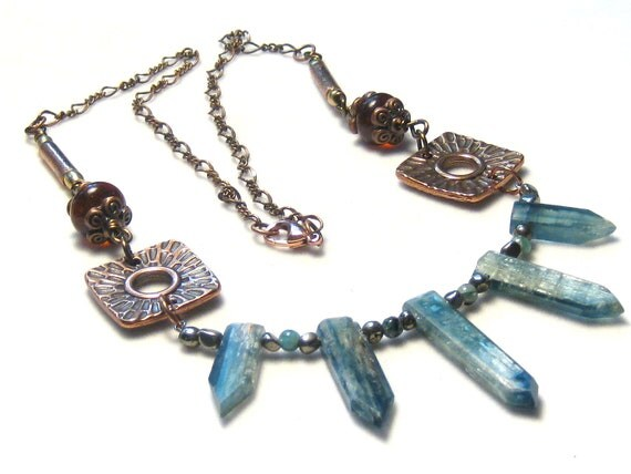 Blue Kyanite Baltic Amber Copper Necklace Bohemian Jewelry
