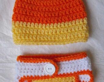 Newborn Candy Corn Hat and Diaper Cover Set