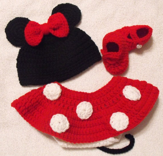 Minnie Mouse Inspired Hat, Diaper Cover and Bootie Set