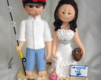 Personalised bride and groom wedding cake topper fishing beach wedding