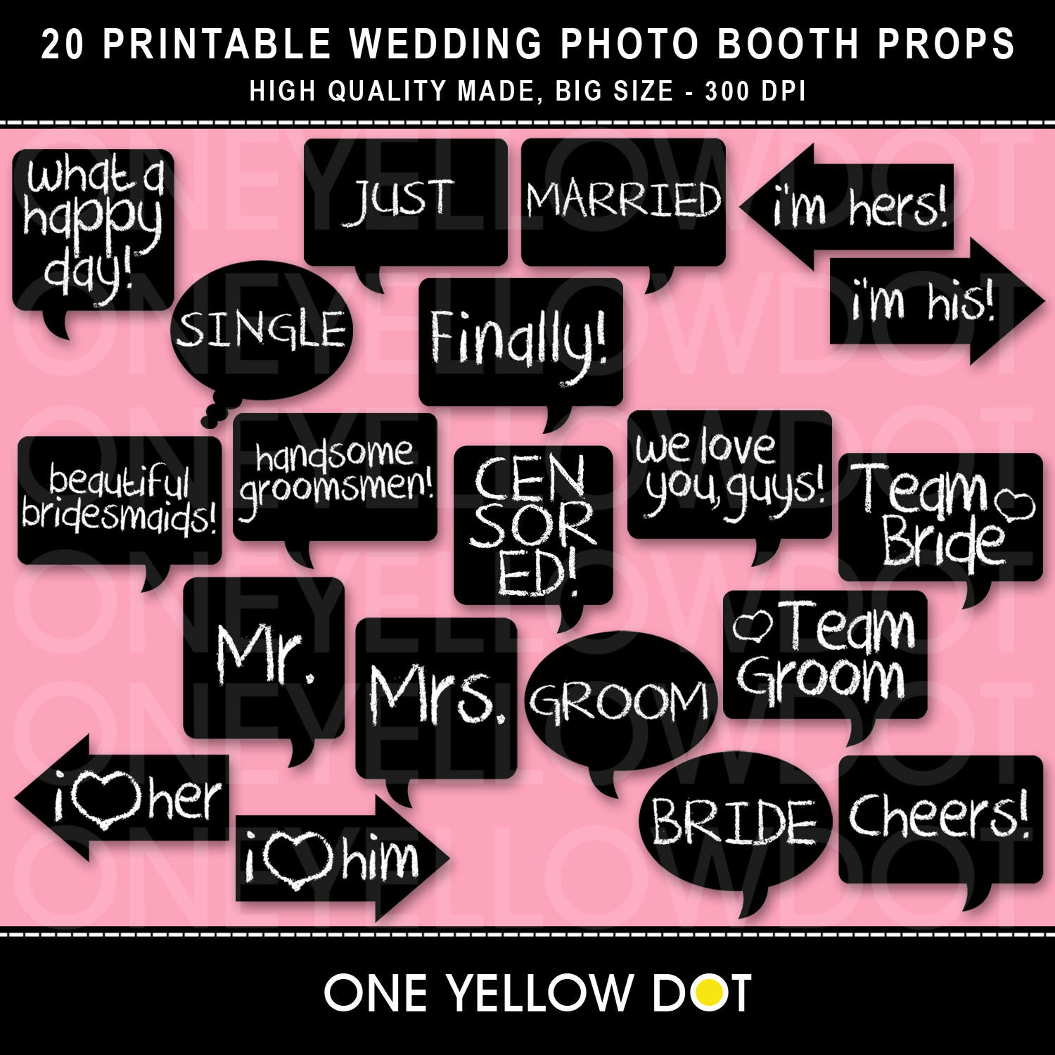 Instant Download Wedding Photo Booth Props By Oneyellowdot