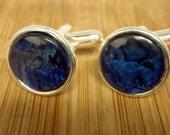 New Zealand Blue Paua Shell Merced Cuff Links / 1 Pair / Groom / Groomsmen / Best Man Gift Cufflinks