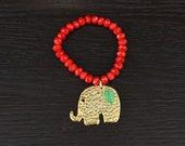 Gold elephant, red beads elastic bracelet 2