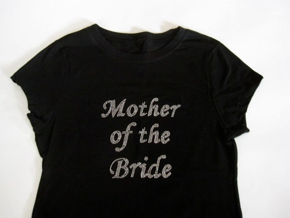 Mother of the Bride Rhinestone Tee Shirt. Mother of the Groom, Matron of Honor, Maid of Honor, Bridesmaid. Black, Purple.
