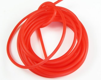 Rubber cord 3mm, solid, luminous Red, 10 feet