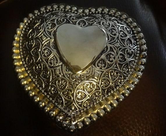 Vintage Silver Trinket Ring Box Crystal Prayer Box  Heart Love Engagement Ring Hidden Inside