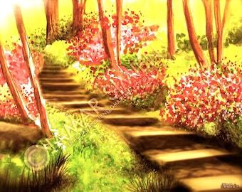 "Flower painting- Azalea garden original watercolor painting- landscape painting- azaleas- 8"" x 10"" art print- FREE SHIPPING"