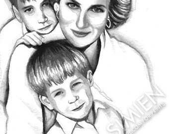 """Princess Diana watercolor painting- 5"""" x 7"""" art print- vintage- celebrity artwork- black and white art- FREE SHIPPING"""