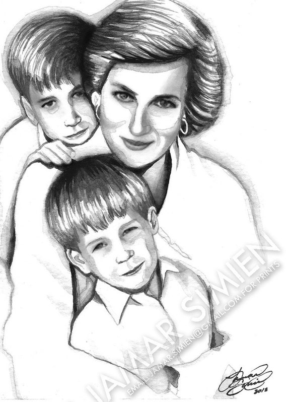 "Princess Diana watercolor painting- 5"" x 7"" art print- vintage- celebrity artwork- black and white art- FREE SHIPPING"