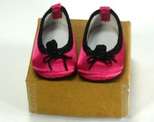 Bright Pink Hand Embellished Ballet Flats fit American Girl Doll