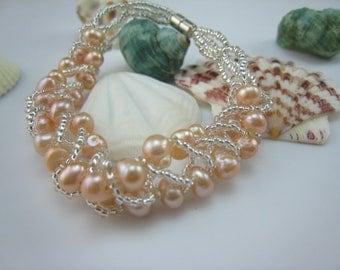 bridial jewelry,wedding bracelet,beaded freshwater pearl bracelet