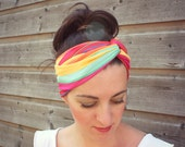 SALE Striped twist headband, stretch jersey headband in yellow mint red pink and orange stripes, multicolor headband
