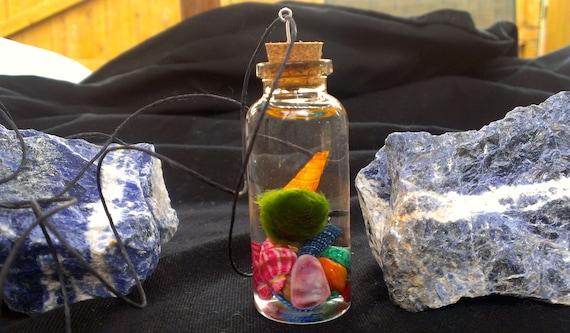 Baby Marimo pet moss ball in bright seashell terrarium necklace