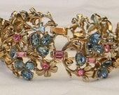 RESERVED Vintage Rare 1955 Hollycraft Light Sapphire and Rose Floral Link Bracelet