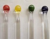 Set of Four Glass Drink Stirrers/Swizzle Sticks