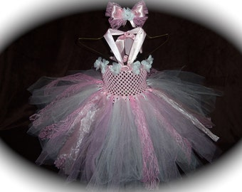 Pageant custom made pink and white Toddler girls 2pc  wedding flower girl tutu dress with matching hairbow size 6m 9m 12m 18m 24m 2t 3t 4t
