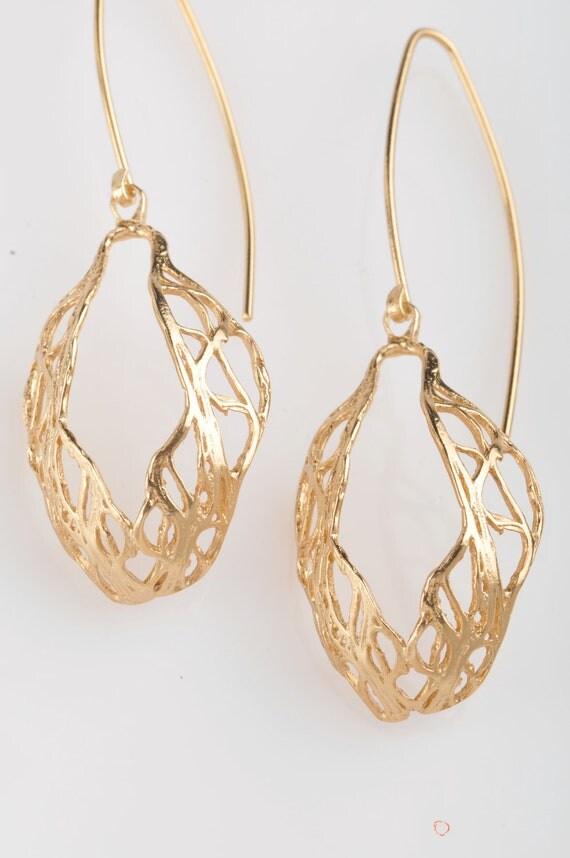 Gold dangle earrings , drop shape nature inspired.