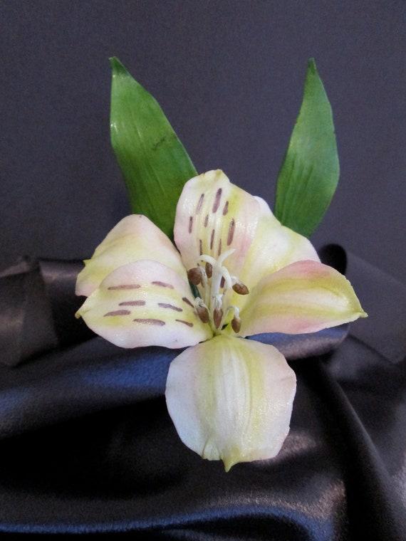 sugar gumpaste edible lily cake topper wedding alstromeria peruvian lily