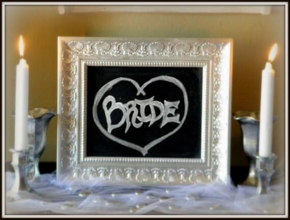 Shabby Elegant Chic Silver foil leaf look  Framed Wedding Anniversary Frame Framed Chalkboard