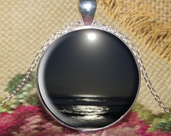Ocean by Moonlight Pendant/Necklace Jewelry, Ocean Necklace Jewelry, Photo Jewelry Glass Pendant Gift, Moon