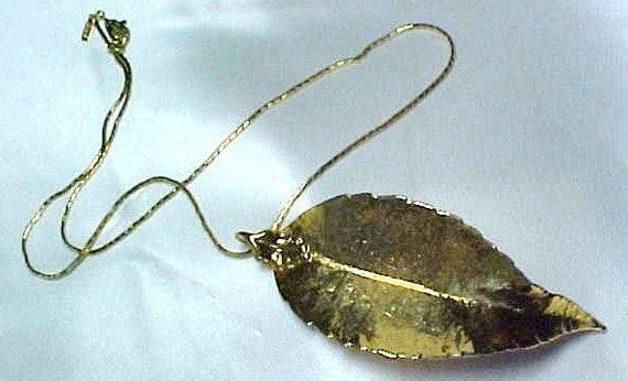 Estate Gold Dipped Genuine LEAF Pendant & Monet Chain - 1980's