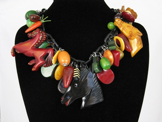 Horse Necklace - Huge, Chunky Vintage 1930s Bakelite (Loaded with Charms and Pendants)
