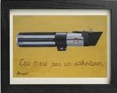 Ceci n'est pas un sabre laser, parody with Darth Vader's light saber in a pop surrealist digital print cm 30 x 20