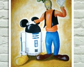 "Poster 11""x17""-""Disneywars"". R2D2 and C3PO after been bought by Walt Disney, as Mickey Mouse and Goofy. Laser print of my original painting"
