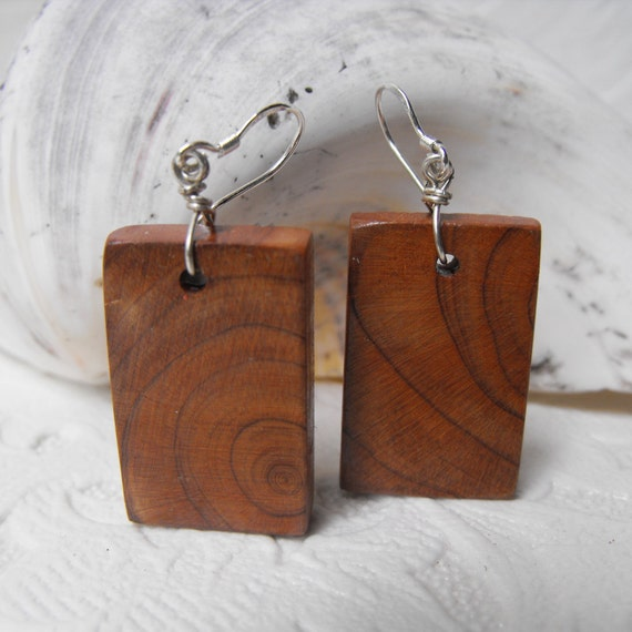 Swirling Grain Cedar Slab Earrings - Wood with Sterling Silver French Ear Wires