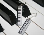 Piano Keyboard Earrings, Handmade Resin