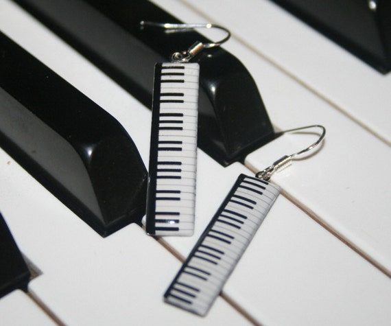 Piano Keyboard Earrings, Handmade Resin