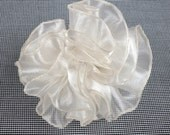Elegant Organza Ruffle Flower Brooch Pin, lovely jewellery in off white from shiny fabric