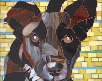 Glass Mosaic Dog Portrait