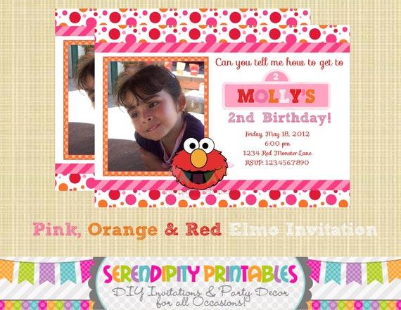 DIY Personalized Invitation: Girly Elmo Inspired Invitation - Digital Invitation by Serendipity Celebrations -You Print -Printable Invite