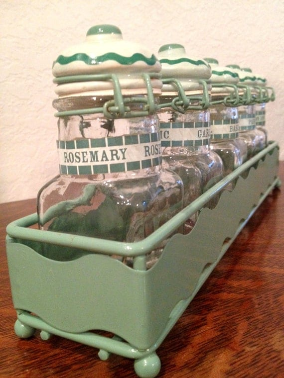 Vintage Seafoam Green Spice Rack with 5 Glass and  Handpainted Ceramic Jars