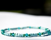 Stretch Bracelet: Clay, Swarovski Crystal, & Seed Bead- sky blue, blue zircon, and green
