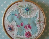 Embroidery  Hoop Art  -  Cheeky dog.  Hand embroidered and embellished.