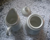 Sango Majesty ROMANTICA Cute Cottage Creamer, Sugar Bowl, Silver Trim