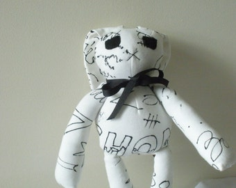 Zombie Bunny Doll - In Black Graffiti on White - As Seen On YouTube