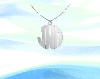 Dainty Monogram Necklace - .5 inch Sterling Silver Handcrafted Personalized Monogram - Block Initial Necklace - Made in USA
