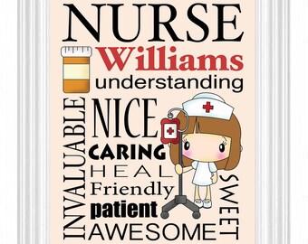Nurse's Gift Personalized Subway Sign Wall Art Custom Name Print -RN-Nurse Practitioner-Nursing Graduate