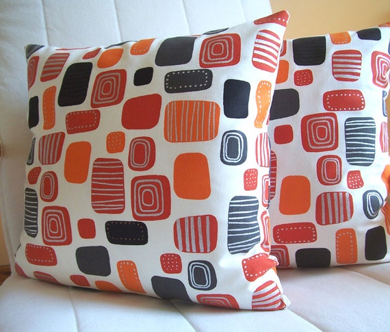 SET OF TWO-Decorative pillow Throw pillow cover 16 x 16 inch  Orange,Red,Black,White,Silver