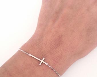 Sideways cross bracelet - Delicate everyday jewelry - Cross bracelet - Dainty cross - Christmas Gift for her