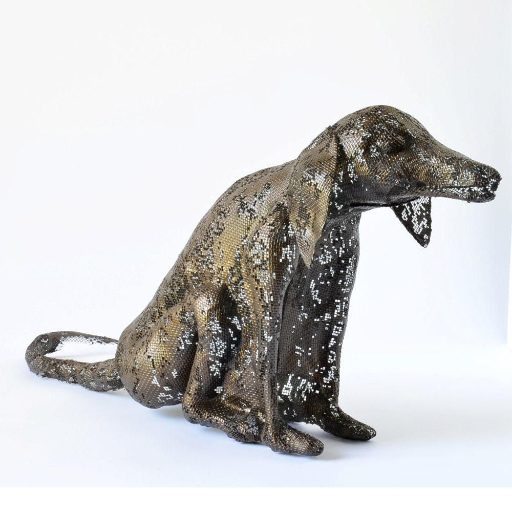 metal dog sculpture contemporary art metal sculpture