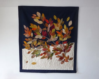 SOLD. Free shipping. Fall colors art quilt. Wall hanging modern quilt. A gift for golden wedding anniversary, housewarming, for grandparents