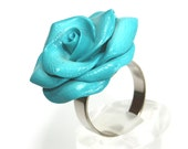 Elegant turquoise rose ring, adjustable ring, polymer clay rose ring in graduate transformation from turquoise to white, unique rose ring