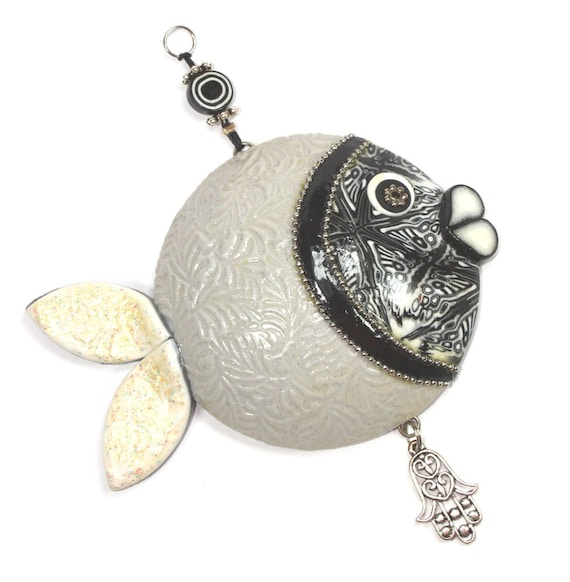 FREE SHIPPING- Handmade lucky fish, Wall decor fish, lucky fish, fish of fortune with black, white and greys, Polymer clay fish